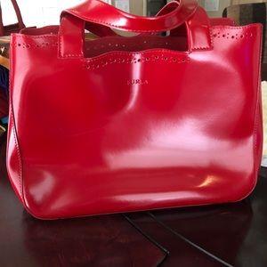 VINTAGE Red Furla open tote bag